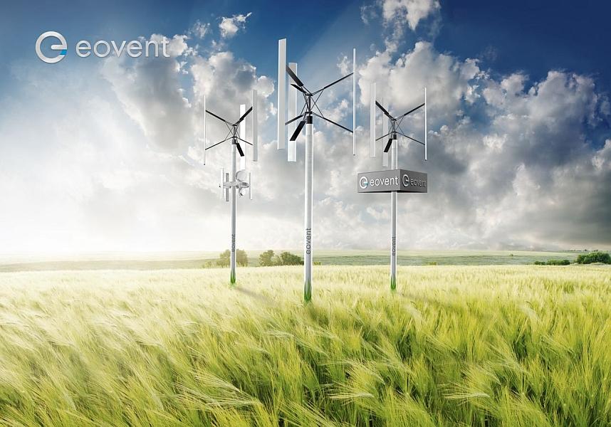 Vertikale kleinwindanlagen der Eovent GmbH (Fotomontage)