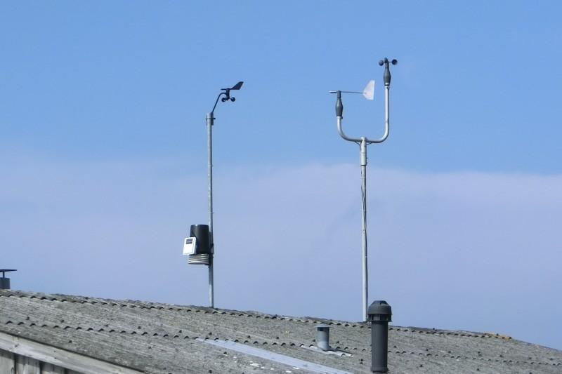 Windmessgeräte auf Hausdach