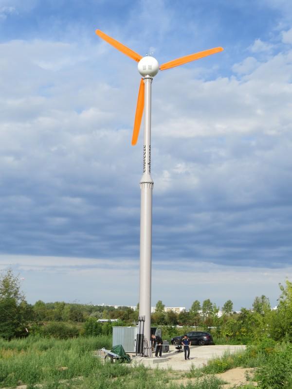 Kleine Windkraftanlage als Leeläufer