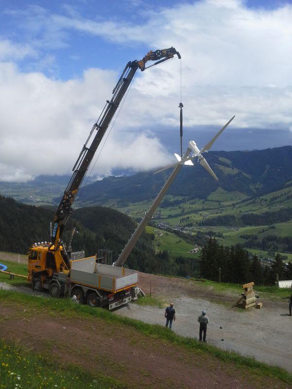 Kleine Windkraftanlage in Österreich