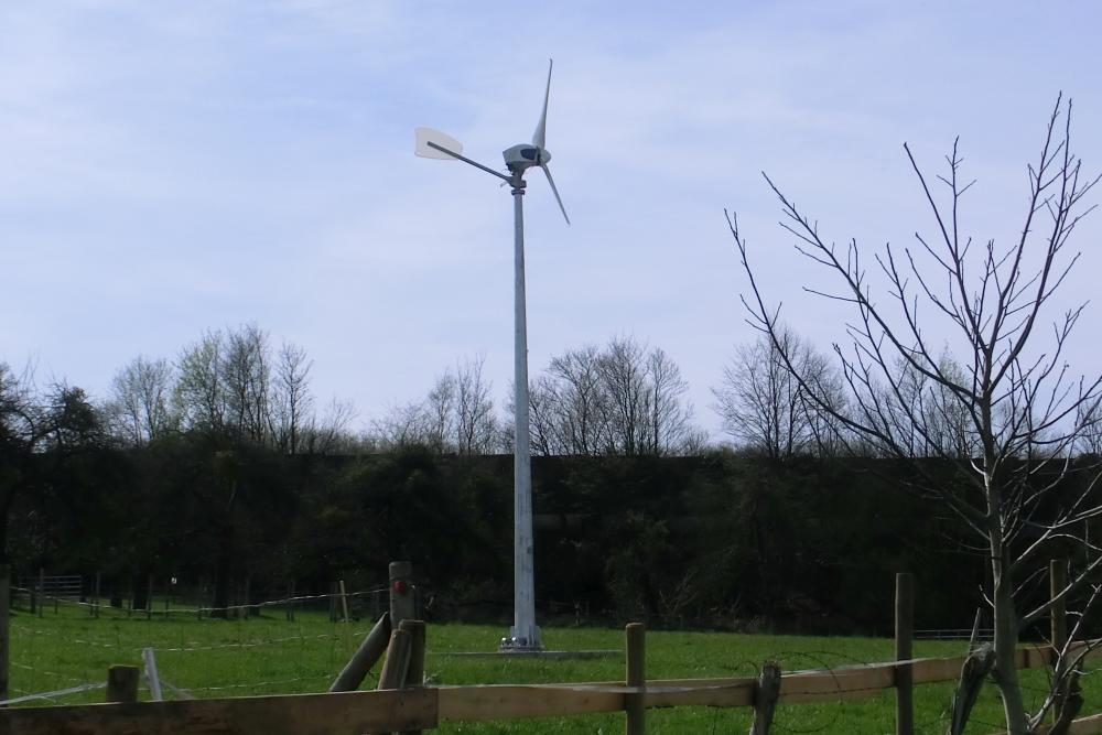 Windrad im Garten für Stromerzeugung